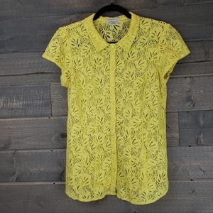 Van Heusen Studio Yellow Lace Button Up Small